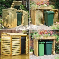 New wooden double wheelie bin store dustbin storage rubbish screen Garbage Can Shed, Garbage Can Storage, Recycling Storage, Storage Bins, Bin Storage Ideas Wheelie, Pallet Storage, Trash Can Storage Outdoor, Potager Palettes, Hide Trash Cans