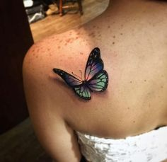 Realistic butterfly tattoo.