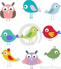 Set Of Different Cute Bird Cartoon Royalty Free Stock Image - Image: 27048326