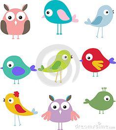 Set Of Different Cute Bird Cartoon Royalty Free Stock Image - Image: 27048326