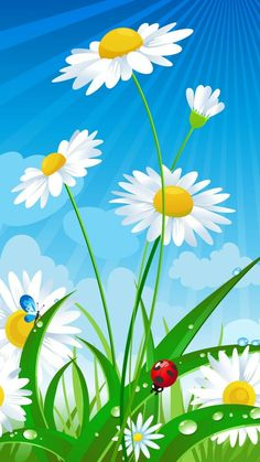 drawing of daisies, with a butterfly and a lady bug, phone background wallpaper, spring desktop wallpaper Flor Iphone Wallpaper, Phone Background Wallpaper, Scenery Wallpaper, Butterfly Wallpaper, Colorful Wallpaper, Cellphone Wallpaper, Wallpaper Backgrounds, Background Images, Beautiful Flowers Wallpapers