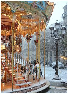 In Paris, the year I was there at Christmas, the carousels were free as a gift to the children