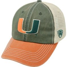 ee7581a43fa Top of the World Men s Miami Hurricanes Green White Orange Off Road  Adjustable Hat