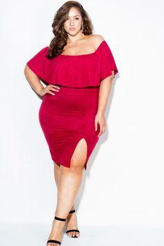 Plus Size Suede Ruffled Off Shoulder Dress