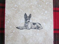 Custom Handmade Toy Fox Terrier Dog Natural Stone Coasters