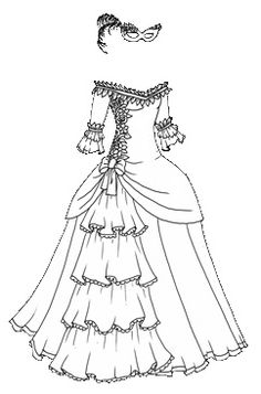 Halloween Masquerade Series Black And White Gown With Bonus Colored Brown Red Elf