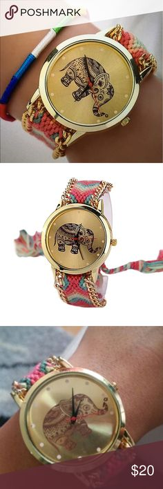 ELEPHANT 🐘 HANDMADE WEAVE WRIST WATCHES BRAND NEW! Handmade Weave Wrist Watches Stainless Steel Watch in Gold. Watch diameter - 1 inch. The band - 9.5 inches. with BONUS STRING BRACELET. DYOSARA Accessories Watches