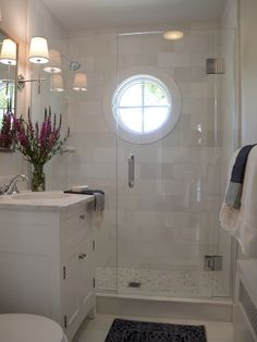 Nautical Shower Window White Marble And Light Blue Accents