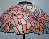 Christopher Foster Original Design Shades of Pink Blue and Green Poinsettia Stained Glass Dome Lampshade