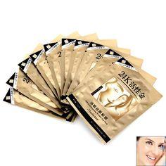 Mmeiba 24K Gold Dispelling Wrinkles Eye Mask for Bettering Skin Around Eyes - 10 Pairs