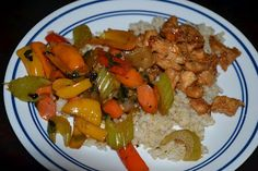 Gluten free, corn free and dairy free orange chicken with steamed veggies and rice.  This is soooo yummy!