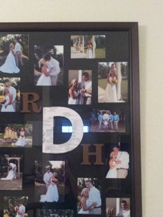 Pictures inside frame. Painted letters for first names. Marriage license mod podged to last name letter. Letters glued to outside of frame.