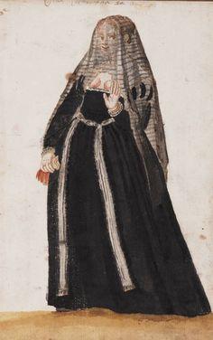 Black Stripey Veil The Venetian Woman in 'Mores Italiae,' 1575 Una Veneziana da [.] A Venetian . Renaissance Garb, Renaissance Portraits, Renaissance Fashion, Italian Renaissance, 1500s Fashion, 16th Century Fashion, Italian Outfits, Historical Clothing, Fashion Plates