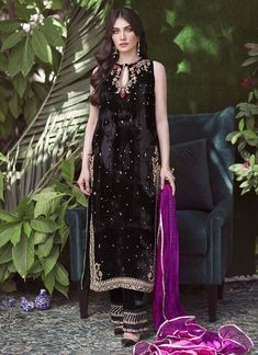 Velvet Suit Design, Velvet Dress Designs, Simple Pakistani Dresses, Pakistani Dress Design, Pakistani Clothing, Desi Wedding Dresses, Bridal Dresses, Formal Dresses, Party Wear Evening Gowns