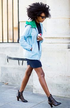 Windbreakers don't have to be lame. Team your colorful windbreaker jacket with a simple shift dress and your favorite ankle boots like Julia Sarr-Jamois.