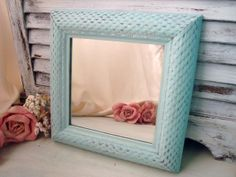 Blue Square Mirror Sea Glass Blue Painted by WillowsEndCottage