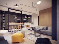 Kis lakás modern étkező megoldással