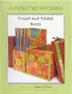Sewing Fabric Storage Fused and Folded Boxes sewing pattern from Aunties Two Sewing Room Storage, Fabric Storage, Sewing Rooms, Sewing Pattern Storage, Christmas Sewing Projects, Christmas Crafts, Craft Projects, Craft Ideas, Christmas Decorations