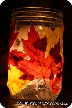 I want to make these for our front stairs ~ Create a Leaf lantern this Fall. Just leaves + Modge Podge. use teeny tea lights inside the jar. Line the walk way or use as table toppers. These are so pretty!