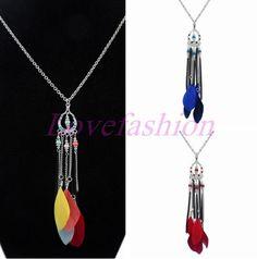 Fashion Women Retro Bronze Blue Feather Moon Tassels Pendant Chain Long Necklace #newfeeling #Pendant