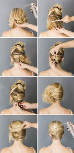 French roll-short hair up do                                                                                                                                                                                 More