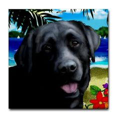 LABRADOR RETRIEVER DOG Beach Art Ceramic Tile by EvaDesignsArt, $15.00