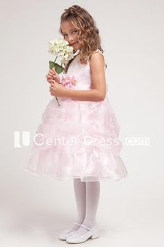 86061c1737d Tea-Length Floral Floral Ruched Organza Satin Flower Girl Dress With Sash
