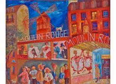 """La revue du chat noir """"Hommage à Toulouse Lautrec"""" - Huile sur toile - 65 x 81 cm. Toulouse, Claude, Lautrec, Painting, Oil On Canvas, Board, Cat Breeds, Black People, Painting Art"""
