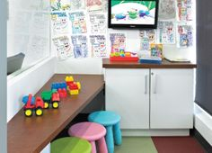 Kids play room - have colored metal clips/or spray paint clothes pins & hang kids artwork on 1 wall