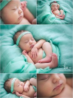 natural newborn photography - teal fluff and silk