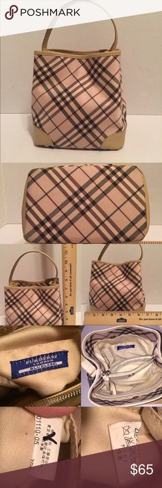Burberry Blue Label Mini shoulder bag Authentic Good used condition. Light pink with buff leather trim. Wear shown in last pic. Purchased in Japan. Burberry Bags Mini Bags