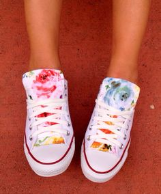 Floral Converse Chuck Taylor Shoes by LoveChuckTaylors on Etsy https://www.etsy.com/listing/194617033/floral-converse-chuck-taylor-shoes