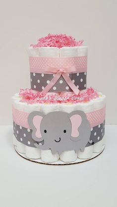 Ideas baby shower centerpieces for girls elephant mini diaper cakes