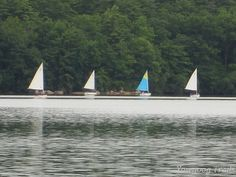 Magnified view of sailboats on Yawgoog Pond on July 19, 2014. The view is from Armstrong Point on the Narragansett and Yellow trails.  Image by David R. Brierley.