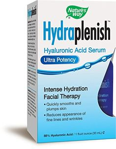 Nature's Way Hydraplenish Serum Ultra Potency Hydration Facial Therapy, Hyaluronic Acid, 1 Oz. Natural Skin Moisturizer, Facial Therapy, Home Remedies For Skin, Anti Aging Facial, Hyaluronic Acid, Vitamin C, Health And Beauty, Serum, How To Apply
