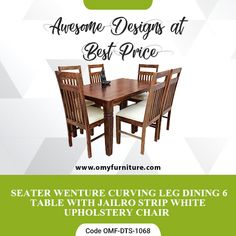 Product URL: 6 SEATER WENTURE CURVING LEG DINING TABLE WITH JAILRO STRIP WHITE UPHOLSTERY CHAIR  Product Code - OMF-DTS-1068 Product URL: https://www.omyfurniture.com/6-seater-wenture-curving-leg-dining-table-with-jailro-strip-white-upholstery-chair-omf-dts-1068  Call Us: +91 9001470833, 7627045945 #furniture #cabinet #diningtable #bed #drawer #bookselves #chairs