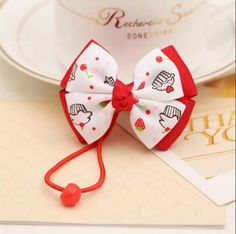 Strawberry & Cupcake Grosgrain Bow Hair Ties by Kidz Outffiters | www.KidzOutfitters.com
