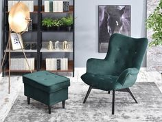 Fotel FLORI ZIELONY z pikowanego weluru na czarnej nodze - Mebel-Partner.pl Accent Chairs, Bedroom, Furniture, Home Decor, Products, Living Room, Upholstered Chairs, Decoration Home, Room Decor