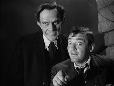 """Raymond Massey as Jonathan Brewster & Peter Lorre as Dr. Einstein from """"Arsenic and Old Lace"""""""