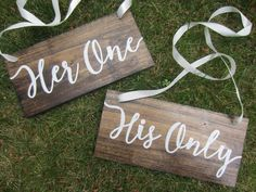 Rustic wedding signs, wood wedding signs, wedding chair signs, wedding table signs, his one her only, mr and mrs table signs, wedding decor by PerryhillRustics on Etsy https://www.etsy.com/listing/386388110/rustic-wedding-signs-wood-wedding-signs