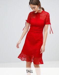 Chi Chi London Tall | Chi Chi London Tall All Over Lace Midi Dress with High Neck and Short Sleeve