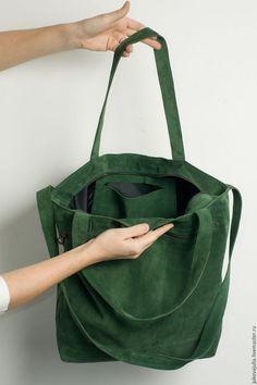 Купить или заказать Сумка из натуральной кожи замши спилок изумрудная  зеленая травяная в интернет-магазине e751018bd5310