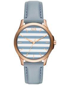 A|X Armani Exchange Women's Blue Leather Strap Watch