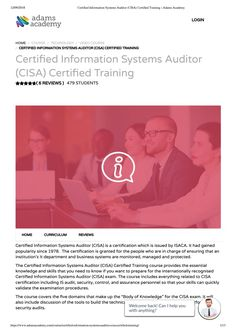 This course provides comprehensive coverage of cisa syllabus you certified information systems auditor cisa certified training adams academy fandeluxe Image collections