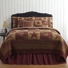 Ninepatch Star Quilt by VHC Brands for sale online Rustic Comforter, Country Bedding, Country Quilts, California King Quilts, Rustic Quilts, Nine Patch Quilt, American Decor, Twin Quilt, Queen Quilt