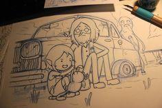 Hora de Aventuras. Tinta para una ilustración de Simon y Marcy. De @isaramiau