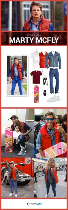 Dress like Marty McFly from Back to the Future. See more costumes of others dressed like Marty McFly. Go back in time looking like Marty McFly from the Back to the Future Trilogy played by Michael J. 80s Theme Party Outfits, 80s Party Costumes, 80s Costume, Costume Ideas, 80s Halloween Costumes, Couple Costumes, Themed Outfits, Cosplay Ideas, Party Fiesta