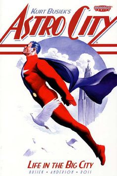 Astro City: Life in the Big City by Kurt Busiek.  Chronicles the hopes, dreams, and trials of ordinary people and superheroes in a city with a long history of protection from such powerful figures as Samaritan and Winged Victory.