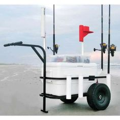Sea Striker Deluxe Beach Runner Surf/ Pier/ Beach Cart  Designed to give years of service to the person who enjoys the outdoors. Whether you need a beach cart, surf cart or pier cart this fishing cart can help you with your carrying needs.  7 PVC Rod Holders Holds Up To 54 Quart Cooler Tough powder coat finish protects cart from the elements Easy assembly with included tools, simple break down for easy storage and transport Pneumatic Wheels
