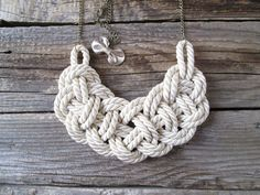 Collana nodo di corda bianco collana corda nautica on Etsy, 25,53€